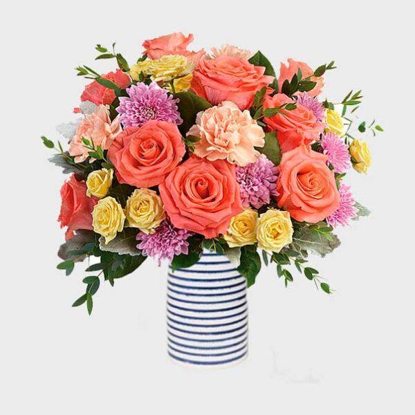 ramo de rosas amarillas y naranjas