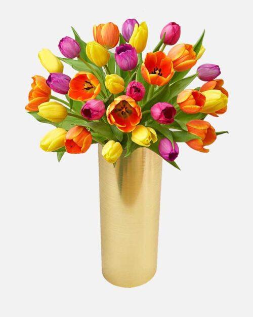 tulipanes amarillos y naranjas