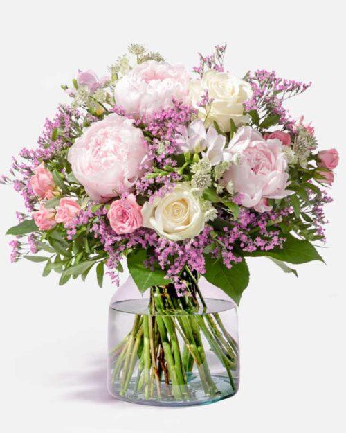 ramo de peonias y rosas rosas